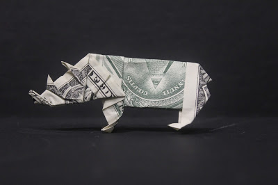 money origami rhinoceros